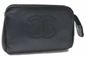 Authentic CHANEL Caviar Skin CC Logo Pouch Black D0568