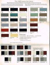 1980 LINCOLN COLOR Chip CHART Paint Brochure : CONTINENTAL,MARK 6 VI,VERSAILLES