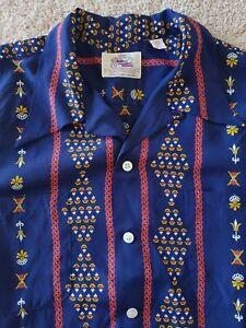 Vintage KANAHAMOKU Hawaiian Shirt Rayon Open Collar Aloha KAMEHAMEHA Sun Surf