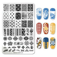 NICOLE DIARY Nail Stamping Plates Flower Overprint Nail Art Stamp Template L03