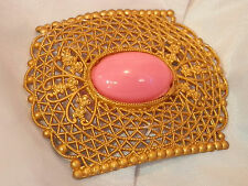 Lovely HUGE Vintage 1940's Gold Tone Lace Repousse PINK Thermoset Brooch 22my7
