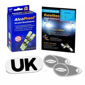 Eurolites Headlamp Adaptors 2 French Breathalyser Magnetic UK Plate Euro Travel