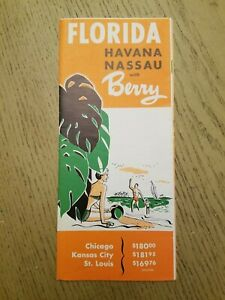 1955 Berry Vacation Tours Florida Havana Cuba Nassau Bahamas Pricing Brochure FL
