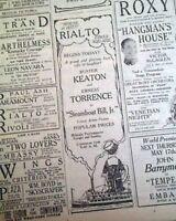 STEAMBOAT BILL, JR. Silent Film Movie Buster Keaton OPENING DAY 1928 Newspaper