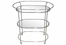 MID CENTURY MODERN CHROME AND GLASS ROLLING BAR CART