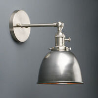 "6.3"" VINTAGE DOME INDOOR WALL SCONCE WALL LAMP BRASS BRUSHED STEEL CHROME"