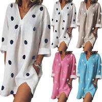 Women Summer V Neck Blouses Loose Baggy Tops Tunic T Shirts Mini Dress Plus Size