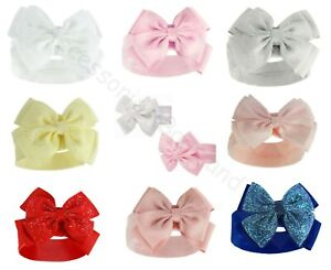 Baby Girl Headband Sparkle Glitter Bow Spanish Style Pink or White by Soft Touch