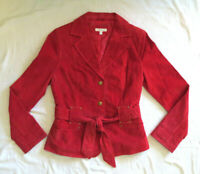 Women's Size 8 Medium Yvonne & Marie Red Leather Suede Fitted Lined Jacket Hot