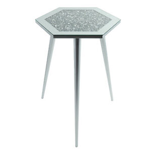 Mirrored Glass Hexagon Side End Coffee Table Multicrystal Silver Grey 38x33x55cm