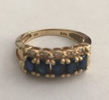 Ladies Sapphire Diamond 14K Yellow Gold Band Ring Size 7
