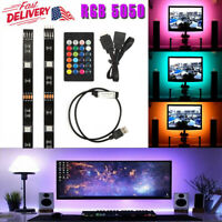 5050 LED 60SMD/M RGB LED Strip Light Bar TV Back Lighting Kit+USB Remote Control