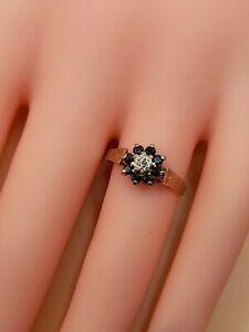 Vintage 9ct Gold Sapphire & Diamond Ring Hallmarked  1.32G