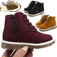 Child Kids Baby Boys Girl Martin Snow Boots Winter Warm Fur Lined Leather Shoes