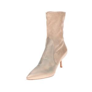 RRP €660 STUART WEITZMAN Leather Ankle Boots Size 37 UK 4 US 6.5 Heel Metallic