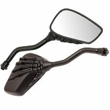 RYDE 10MM UNIVERSAL BLACK SKELETON/SKULL ARM MOTORCYCLE MIRRORS BIKE/MOTORBIKE