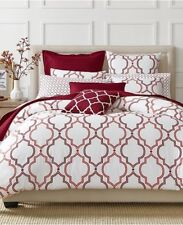 Twin Comforter Duvet Cover Set Double Ogee Garnet Red - Damask Charter Club -New
