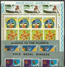 5 Topical Complete Full Sheets MNH - CTO NH  Sports Masks Flowers Space Olympics