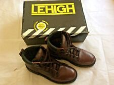 LEHIGH Men's Steel Toe Lace Up Power Cushion Slip Resistant Work Boots. Size 9M