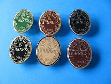 Set of 6 Guinness EXTRA STOUT Oval Label Shaped Pin Badges. VGC. Unused. Enamel.