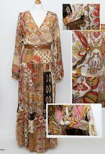 Boho Chiffon Maxi Dress Size S ( 8  UK) Lined Elasticated Waist New