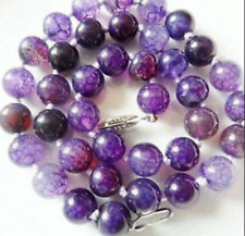 New Stunning 10mm Purple Dragon Veins Agate Gemstone Beads Necklace 18-28''