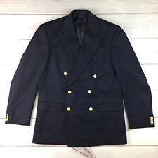 Vintage Thomas Burberry 52 42 Navy Wool Double Breasted Blazer Jacket Sport Coat