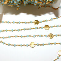 3 Feet CHALCEDONY BLUE 3MM Bead DISC COIN Rosary Link Chain 24K Gold Plated DIY