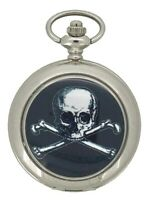 Skull & Crossbones Silver Tone Quartz Pocket Watch And Chain by WESTIME WTS.033