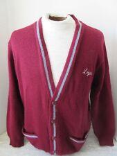 Old Vintage Burgundy Grey Loyola School Uniform Cardigan Sweater Canada