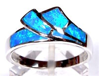 Quality Blue Fire Opal Inlay Solid 925 Sterling Silver Band Ring size 6,7,8,9