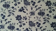"""Crepon Floral with White&Navy printed,50""""/52"""" width, by the yard"""