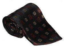 100% Silk Tie / Men's Necktie -  Dark Brown With Square Shapes Pattern