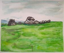 Irish Landscape DOLMEN at Carrowmore Sligo Ireland Watercolor Painting 8x10