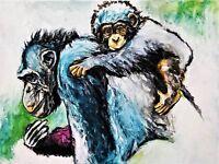 Chimpanzee & Child Poster Painting - Art Print Animal - New York Edition 12X16