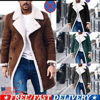 Mens Winter Keep Warm Trench Coat Overcoat Wool Coat Long Sleeve Jacket Outwear