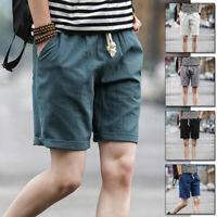 Men's Linen Shorts Beach Pocket Short Pants Drawstring Laced Trousers M-5XL