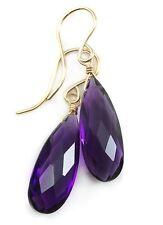 Purple Amethyst Earrings 14k Gold Filled Faceted Briolette Long Sim Teardrops