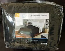 Mainstays Solid Reversable Comforter Full or Queen Black and Silver Color