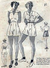 "34"" ORIGINAL 1930s RARE Halter Top Shorts Pin Up Vintage Sewing Pattern B7185"