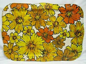 Vintage Metal Bed Tray TV Lap Serving Tray With Folding Legs Floral Flower Retro