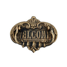 Welcome Sign Door Knocker Rustic Gold Cast Iron Old World Antique Style Durable