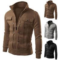 FP- Mens Autumn Winter Warm Outwear Zipper Jackets Casual Collar Jacket Coat Sig