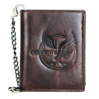 Men's Genuine Leather Wallet Biker Briefcase w/ Chain Trucker Eagle Bifold Purse