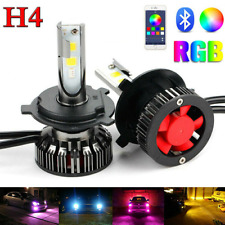 Colorful RGB LED H4 RGB Headlight Kit Fog Lights APP Bluetooth Control Bulbs 2x