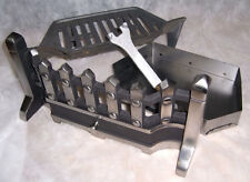 "BEACON 18"" inch PEWTER SILVER SOLID FUEL COAL FIRE KIT SET GRATE ASHPAN FRET"