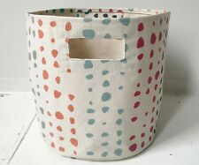 "Petit Pehr Cotton Canvas Colorful Painted Dots Nursery Storage Bin 15""x12"" Great"