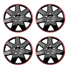 "New 4 Pcs Ice Black 15"" Hub Caps With Red Trim Wheel Cover Set Style -962"