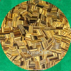 Yellow Marble Coffee Table Top Tiger Eye Stone Random Work Sofa Table  24 Inches