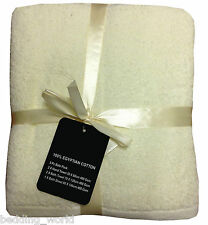 5 PC TOWEL BALE PLAIN CREAM NATURAL ECRU LUXURIOUS 100% EGYPTIAN COTTON 400 GSM